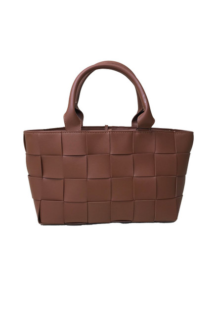 Jayley medium leather handbag, hand knitted woven fabric in brown. Small handles and long strap with extra leather tie on top.