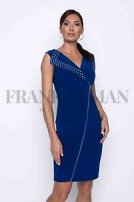 Frank Lyman Sleeveless Zipped Dress (201078).flattering ziped dress from Canada. sleeveless dress dress. knee length.