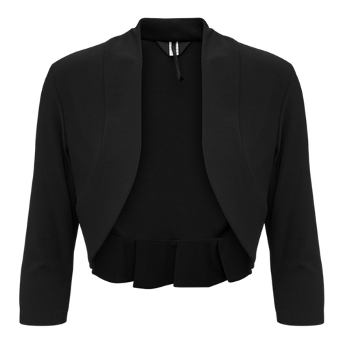 Tia black bolero (76477). Good quality Jearsey bolero with ruffle at the back. complement any style sleevless dress oer top.