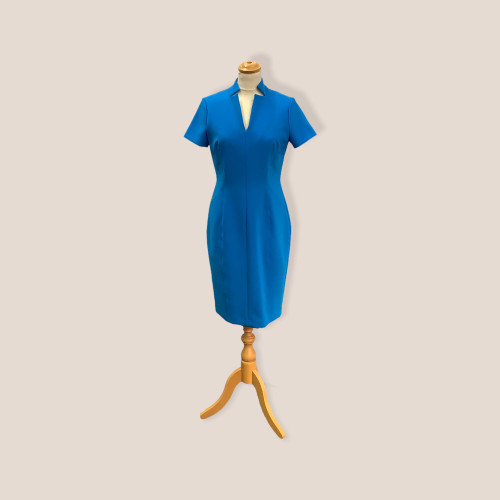 Kate Cooper dress (KCS19143).fitted short sleeves dress. Unusual notch design neckline