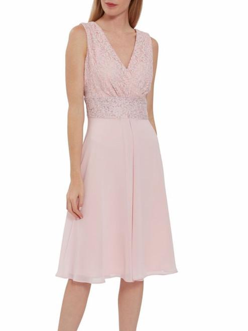 Gina Bacconi chiffon dress with lace bodice. fit and flare dress sleeveless.