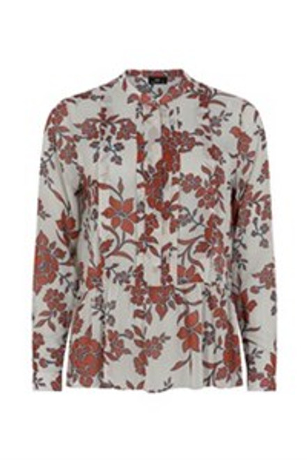 7457 71060 Molly Jo Sheer Blouse With Flowers () Gorgeous sheer blouse in a beautiful autumn floral print.