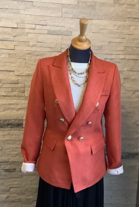 1908201 Blazer With Gold Buttons Double breasted blazer in rust with gold buttons, fully lined.  A versatile piece that can be worn casual with jeans an a pair of loafers or equally can be dressed up with smart black trousers and heels.