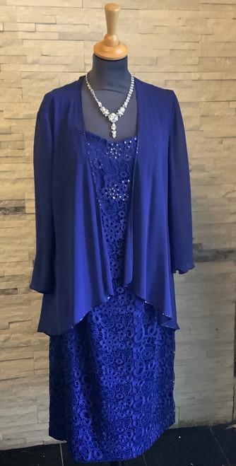 Cabotine blue chiffon jacket and dress (006768)