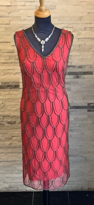 Lyman Red Beaded Short Dress (78100I) Amazing detail on this 1920's inspired beaded dress in a coral red.