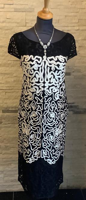 Tia black and cream cocktail dress (78007)