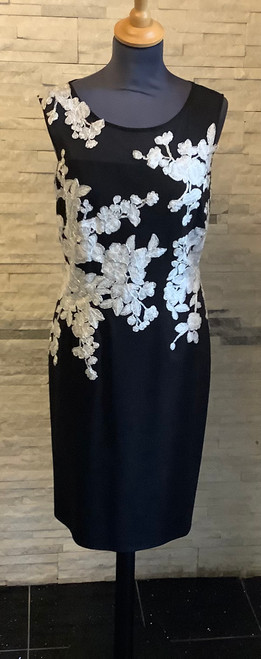 Stunning black dress with beautiful embroidery embelishment edged in silver thread. Sheer panel at the neckline. Perfect for a special occasion