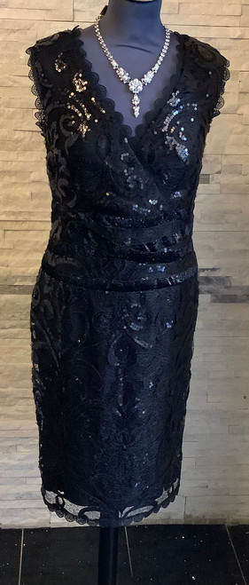 Gorgeous Lyman Black sequin and lace cocktail dress (59216) simply stunning v-neck sleeve dress with back zip fastening.  Perfect for a black tie event or party.