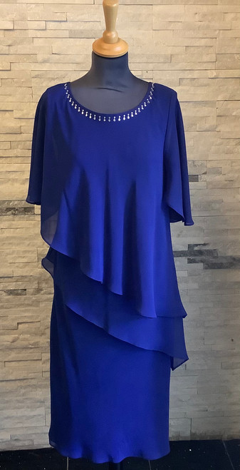 Colbalt tiered dress (48940 4086)  Flattering tiered chiffon dress with beaded detail at the neckline in stunning cobalt blue.