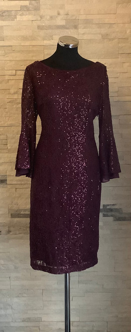 Gina Bacconi lace dress (SRR3301). Dress have a beautiful long Bell Sleeves and stylish Cow Back design. Very flattering. Wine colour sequins scattered all over for a bit of bling without being over the top. Ideal for a wedding, party or any special