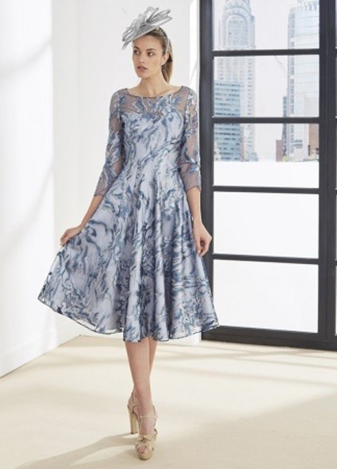 Gorgeous A line dress with blue lace overlay and 3/4 length lace sleeves in a teal colour.