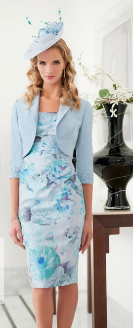 Ispirato Dusty Blue (IS903)  Gorgeous floral dress with blue bolero jacket with beaded applique detail n the dress and sleeves of the jacket.