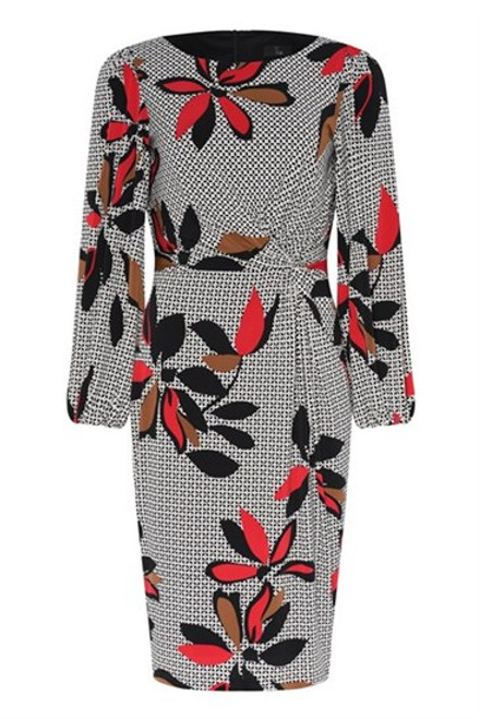 78459 7612 Tia Leaf Print Dress Shift dress with ruching at the waist for a flattering fit. Gorgeous leaf print in red,brown, black and white with balloon sleeves.