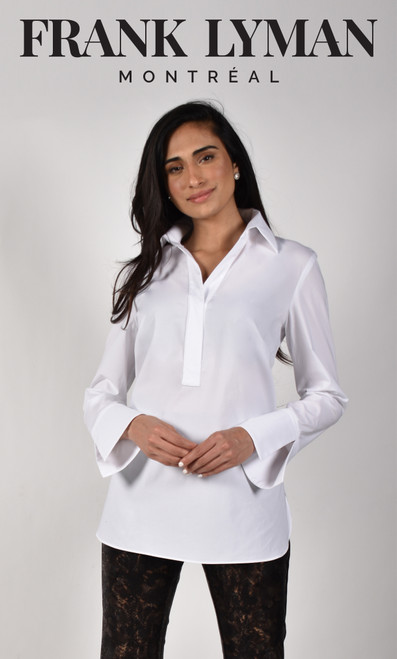 Frank Lyman White Shirt (214684U) This is a beautiful shirt wih a slit detail on the sleeves. Great for the office or pair with jeans for a more casual look.