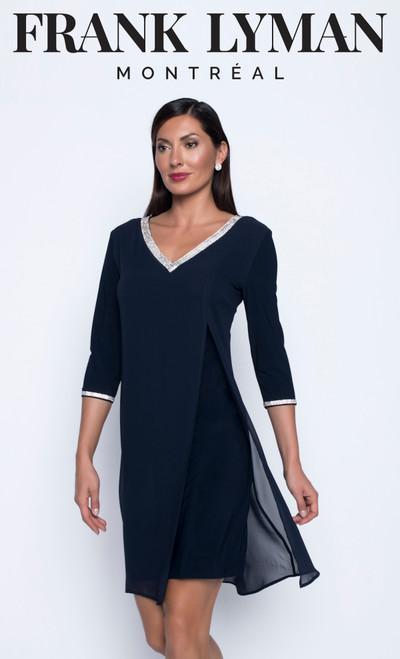 Lyman chiffon overlay dress with 3/4 length sleeves and diamante trim.