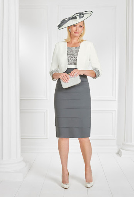 Condici Cream And Anthracite Tiered Suit  (71060) Stunning suit in cream amd anthracite for mother of the bride/groom.