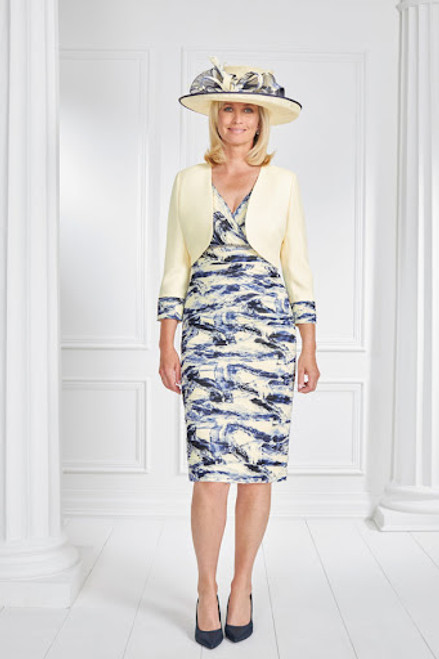 Condici Etch And Lemon Mimosa Suit  (71067) Stunning outfit for ths mother of the bride/groom in lemon and blue.