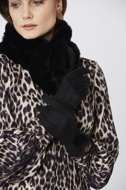 Jayley Faux Suede Gloves With Faux Fur Trim (GLVSU6A-01) Beautiful soft feel sumptuous faux suede gloves, featuring a faux pom pom