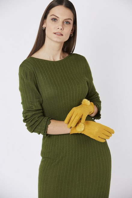 Jayley Faux Suede Gloves With Faux Fur Trim (GLVSU6A-0Y Beautiful soft feel sumptuous faux suede gloves, featuring a faux pom pom, will easily become a statement piece in your wardrobe