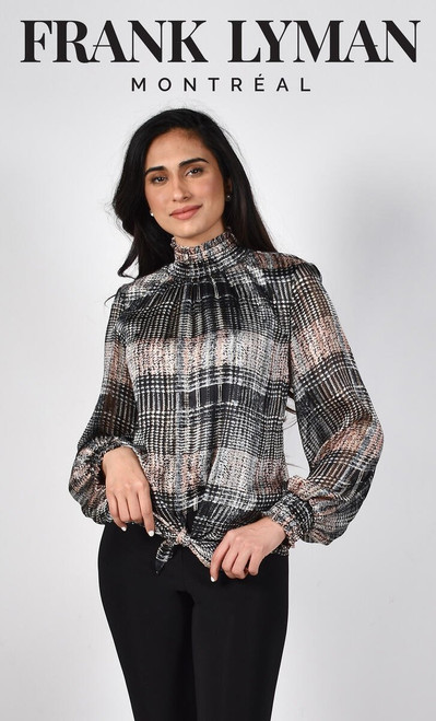 Frank Lyman Tie Front Top With Gold Thread Detail (214261)