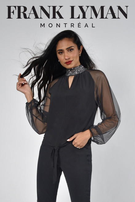 Frank Lyman Black Jersey Tie Front Top With Gauze Sleeve And Silver Detail Collar (214001)  Stunning evening top with keyhole detail and beaded collar, pair with palazzo trousers for an elegant look.