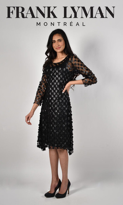Frank Lyman A Line Sheer Sleeve Dress With Spot Detail (214100U}  One of our new favourites! Gorgeous a line sheer dress with sleeves with spot details and an underslip.  Turn heads at your next party in this flattering piece.