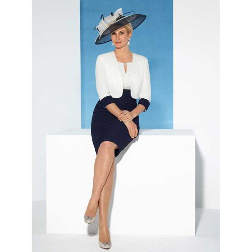 71056N Condici Navy And Cream Ruched Dress Suit ()