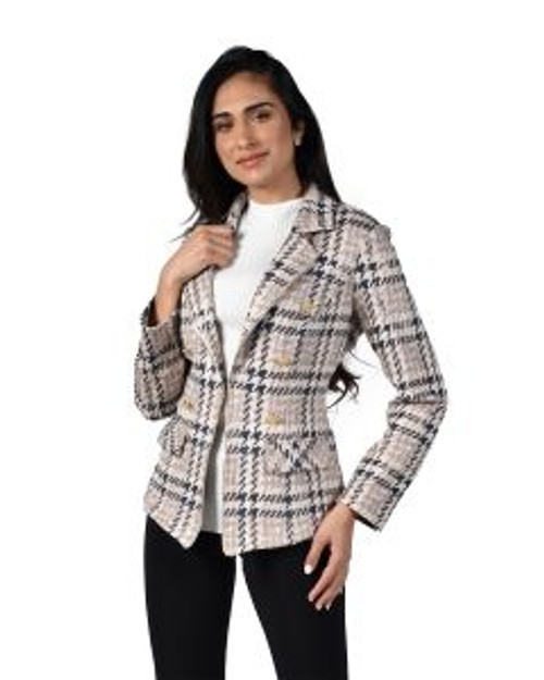 Frank Lyman Beige And Gold Check Effect Jacket (214669)