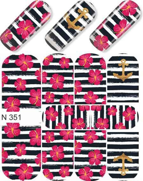 enVogue Simply Decal  Navy Stripes w/Hibiscus & Anchors N351
