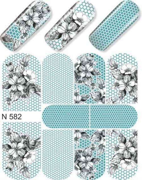 enVogue Simply Decals Teal, Lace Black/White N582