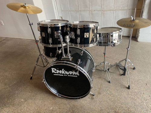Complete 5pc Black Drum Set