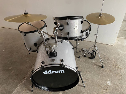 Ddrum 4pc Silver Sparkle Drum Set