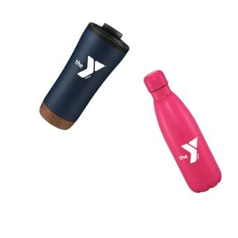 black and pink YMCA bottles