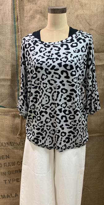 Animal Print Top w/ Ruffle Sleeve