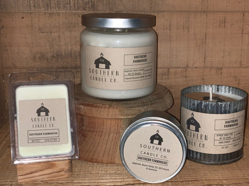 Our candles are 100% Soy, Hand Poured in our store, and come in 4 different sizes