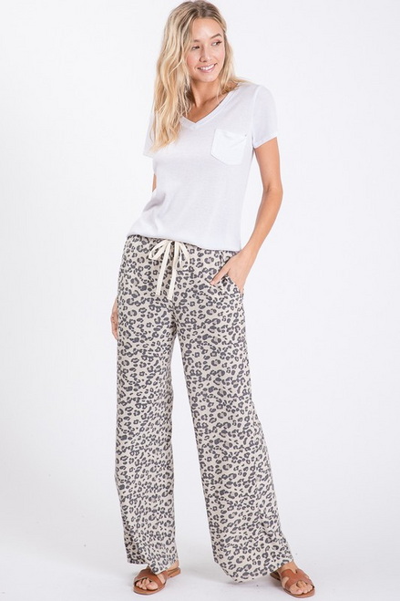 Leopard Terry Pant