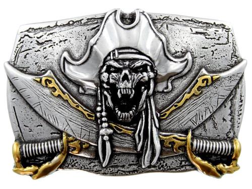Antique Gold Pirate Skull Engraved Punk Unique 3D Belt Buckle