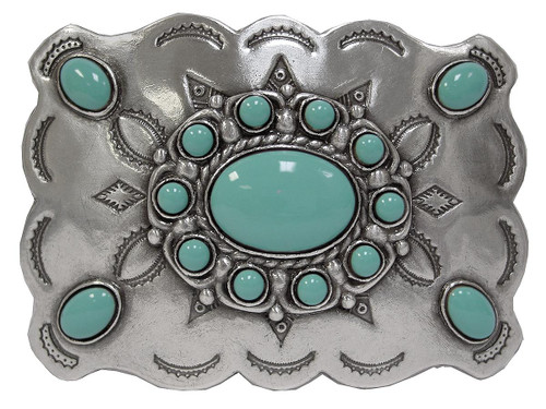 """Turquoise Bead Belt Buckle Antique Silver Engraved Buckle Fits 1-1/2""""(38mm) Belt"""
