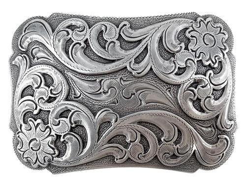 """Western Floral Scroll Engraved Belt Buckle Fits 1-1/2""""(38mm) Belt Strap (Antique Silver)"""