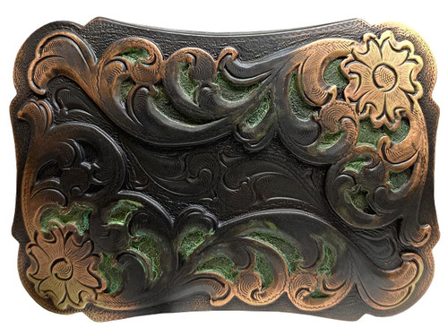 """Western Floral Scroll Engraved Belt Buckle Fits 1-1/2""""(38mm) Belt Strap (Copper-Patina)"""
