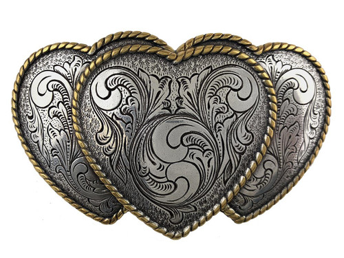 Western Antique Silver Gold Triple Hearts Floral Engraved Buckle