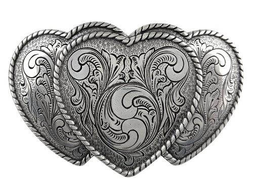 Western Antique Silver Triple Hearts Floral Engraved Buckle