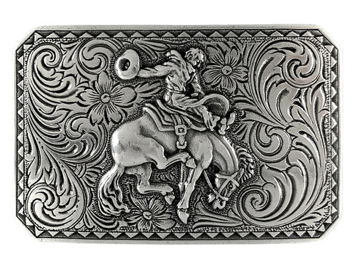 "HA0150 LASRP Antique Silver Bronco Rider Cowboy Belt Buckle Fits 1-1/2""(38mm) Wide Belt"