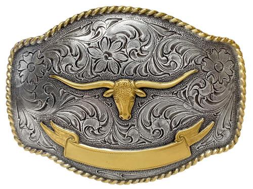 HA0435 Antique Gold Longhorn Steer Engraved Western Rope Belt Buckle