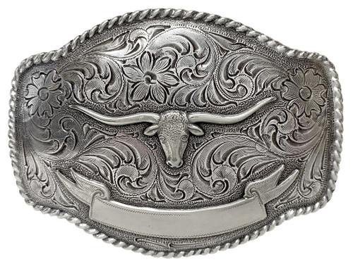 HA0435 Antique Silver Longhorn Steer Engraved Western Rope Belt Buckle