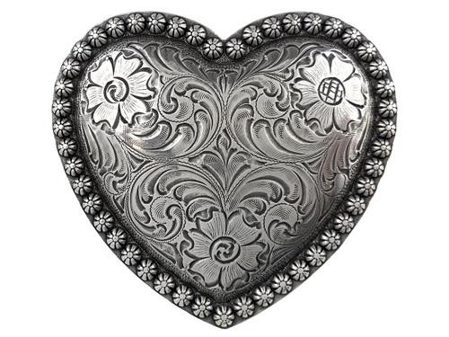 HA0478 Antique Floral Engraved Heart Berry Belt Buckle