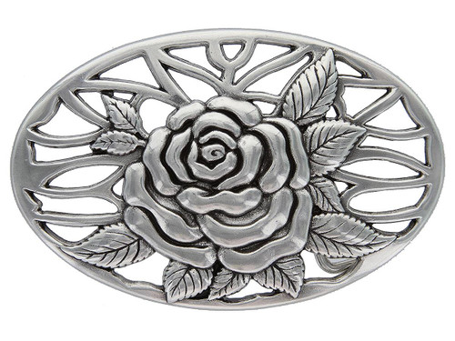 "HA0493 Antique Silver Rose and Vines Engraved Oval Buckle Fits 1-1/2""(38mm) Belt"