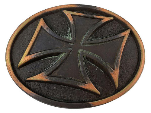 "HA0534 Vintage Patina Copper Cross Engrave Buckle Fits 1-1/2""(38mm) Belt"
