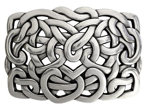 "Unique Antique Celtic Twisted Heart Belt Buckle Fits 1-1/2"" Wide Belt"