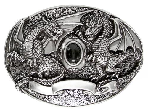 """Unique Buckle Antique Engraved Twin Dragon Black Jet Buckle Fits 1-1/2"""" Wide Belt"""